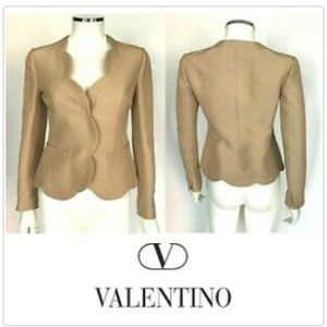 VALENTINO Beige Cotton Silk Blend Scalloped Blazer